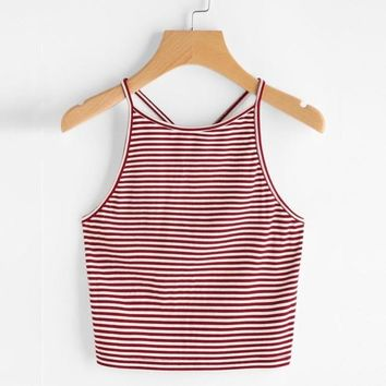Summer Women Fashion Sexy Striped Tank Top Sleeveless Strappy Crop Top T-Shirt Tops Tees Camis #421