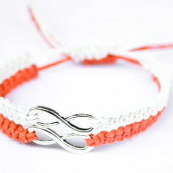 Infinity Friendship or Couples Bracelets Orange and White