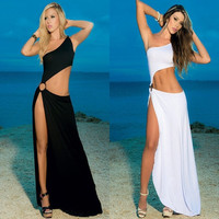 New 2015 Women White 2 Piece Bandage Bodycon Dress Celebrity Sexy Clubwear Split Cutout Long Dresses Sexy Club dresses vestidos = 1958381252