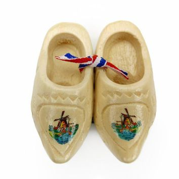 Dutch Holland Wooden Shoes Fridge Magnet Carved