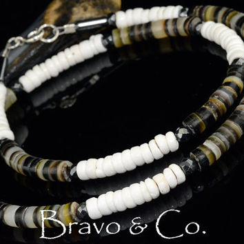 SN-104 Bravo Collection Black Lip,Clam Shell Hematite Stones Choker Men Necklace.