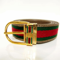 GUCCI / Guccio Gucci / Vintage Belt Shelley line Green & Red / Extra Large Size 42/105 / 100% authentic