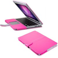 13 MacBook Air Sleeve, GMYLE(R) Folio Case Cover for MacBook Air 13 inch - Hot Pink PU Leather Premium Quality with Microfiber Clip on Sleeve Filp Case Cover