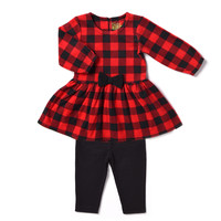 Kapital K Newborn Baby Girl Polar Fleece Plaid Dress & Legging 2pc Outfit Set - Walmart.com