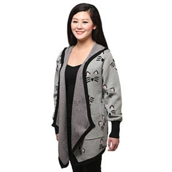 Kitties Draped Ladies' Hooded Cardigan