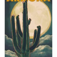 Arizona Cactus and Full Moon Art Print by Lantern Press at Art.com