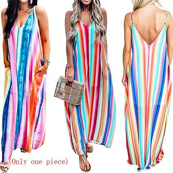 Hot-selling ready-to-wear dresses, women's clothes, color Chiffon sexy strap beach skirts (Only one piece) COLOUR