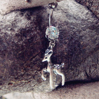 Deer Belly Button Jewelry Ring- Crystal Belly Ring- Silver Deer Charm Dangle Navel Piercing Bar Barbell- B023