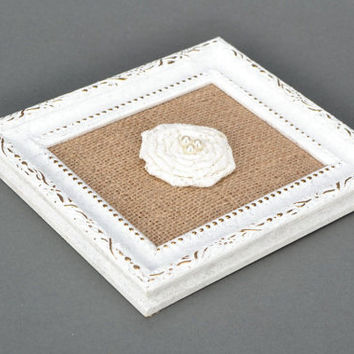 Wall panel Eco friendly gift Wall hanging decor Rustic wedding decor Cottage chic Decorative wall panel white rose
