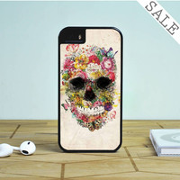 the beautifull flower skull Case For iPhone 5(S),iPhone 5C
