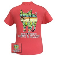 SALE Girlie Girl Originals Southern Aztec Happy & Preppy Pig Bright Coral T Shirt