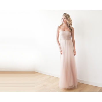 Pink sequin strapless maxi tulle dress