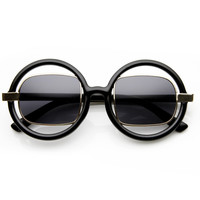 Designer Fashion Round Square Lens Cut Out Sunglasses 8940