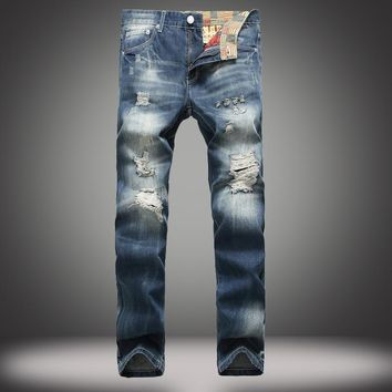 Ripped Holes Embroidery Jeans [164468883485]