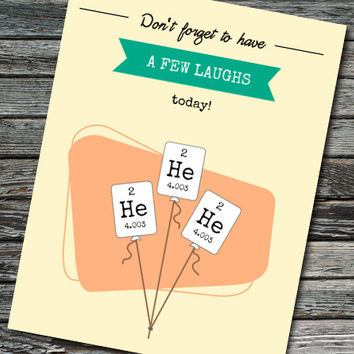 Nerdy Helium Periodic Table Element Balloon Science Birthday Card | Student, Teacher, Professor, Scientist, Chemist, Engineer