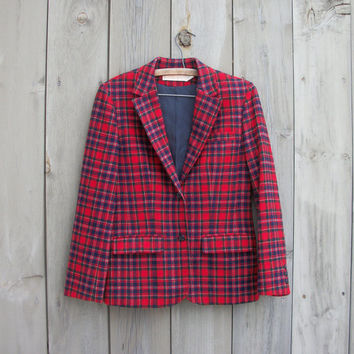 Vintage Pendleton jacket - Women's red plaid wool blazer