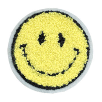 Cute Vintage Style Chenille Yellow Smiley Face Smile Patch Badge 7.5cm