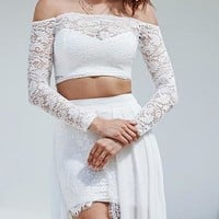 White Off Shoulder Long Sleeve Lace Crop Top And Maxi Skirt