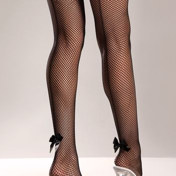 Fishnet Thigh Highs with Back Seam