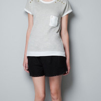 T-SHIRT WITH BREAST POCKET AND STUD DETAILS - T-shirts - Woman - ZARA United States
