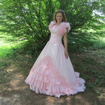 1980s Pink Ball Gown 80s Cupcake Frilly Southern Belle Statement Dress