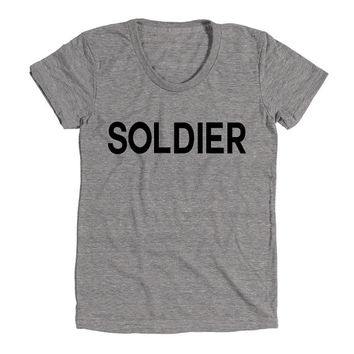 Soldier Womens Athletic Grey T Shirt - Graphic Tee - Clothing - Gift