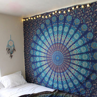 BLUE MANDALA TAPESTRY : Hippie Tapestry, Boho Home Decor, Vintage Tapestry, Vintage Wall Decor, Beach Inspired Tapestry, Blue Tapestry