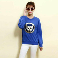 Solid Cartoon Printed Long Sleeve Knitted Pullove Sweatshirt