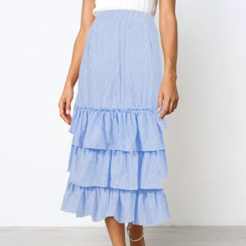 Fashion New Stripe Leisure Cake  Skirt Women Blue