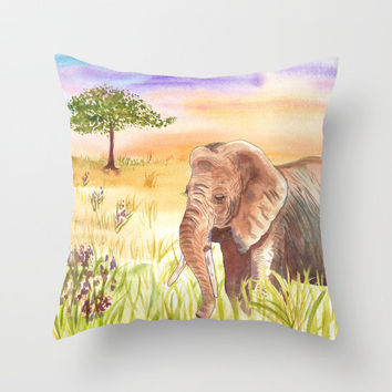 Elephant Throw Pillow, Sunny, Vibrant colorful African Landscape  throw pillow, cushion, cute, sofa, bed, dorm, fall