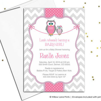 Baby shower invitations for baby girls - owl baby shower invites chevron invitations pink purple and gray - printable or printed - WLP00781
