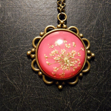 Deep Pink and White Queen Annes Lace Preserved Specimen Necklace