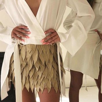 Gold Feather Flow Skirt