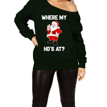 Funny Xmas Sweater Christmas Gift Ideas For Her Santa Claus Holiday Present Christmas Humor Off The Shoulder Slouchy Sweatshirt - SA706