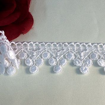 2 Yards, Gorgeous Venice Lace Trim, Roman Grapes, Victorian Style, White,1.5 Inch