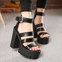 Open Toe Button Belt Thick Heel Wedges Platform Shoes Fashionable Casual Sandals Female