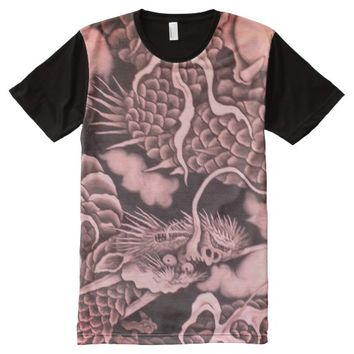 Cool traditional Japanese Dragon Texture All-Over-Print Shirt