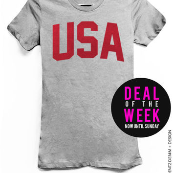 USA - Patriot Holiday - Gray with Red Tshirt