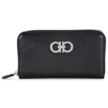 Ferragamo Ganchini Black Leather Wallet