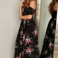 Off-The-Shoulder Floral Maxi Dress Black