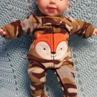 "15 inch baby doll clothes ""Camo Fox"" (15 inch)  Sleeper  winter footie pajamas fleece B8"