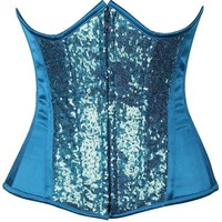 Daisy Corsets Top Drawer Turquoise Sequin Steel Boned Under Bust Corset