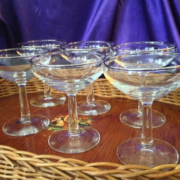 Silver Rim Champagne Coupes, Set of Six Crystal Saucers, Mid Century Barware, Wedding Set, Toasting Glasses