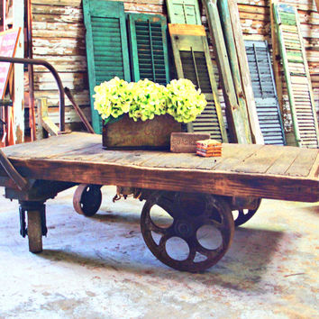 Huge Antique Warehouse Dolly Coffee Table