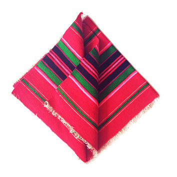 Wool Table Runner / Vintage Red Pink and Green Stripe / Mediterranean, South American Inspired Table Linen / Modern Travel Savvy Decor