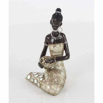 Polystone Sitting African Lady Holding A Basket