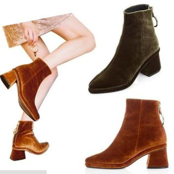 Fashion women Thick heels velvet shorts boots waterproof platform Martin boots