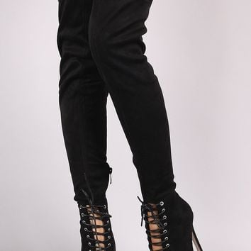 Wild Diva Lounge Suede Lace Up Stiletto Over-The-Knee Boots