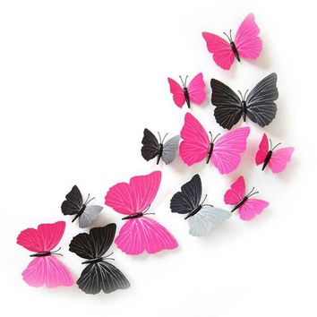 ONETOW New Home Room Curtain Decoration 3D Butterfly Art Decal Wall Stickers 12pcs