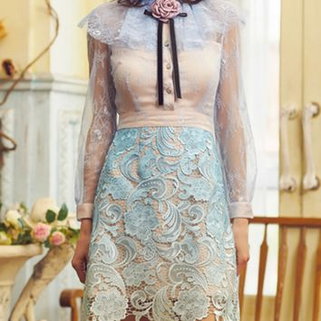 Blue Cape Detail Sheer Sleeve Rose Embellished Lace Dress
